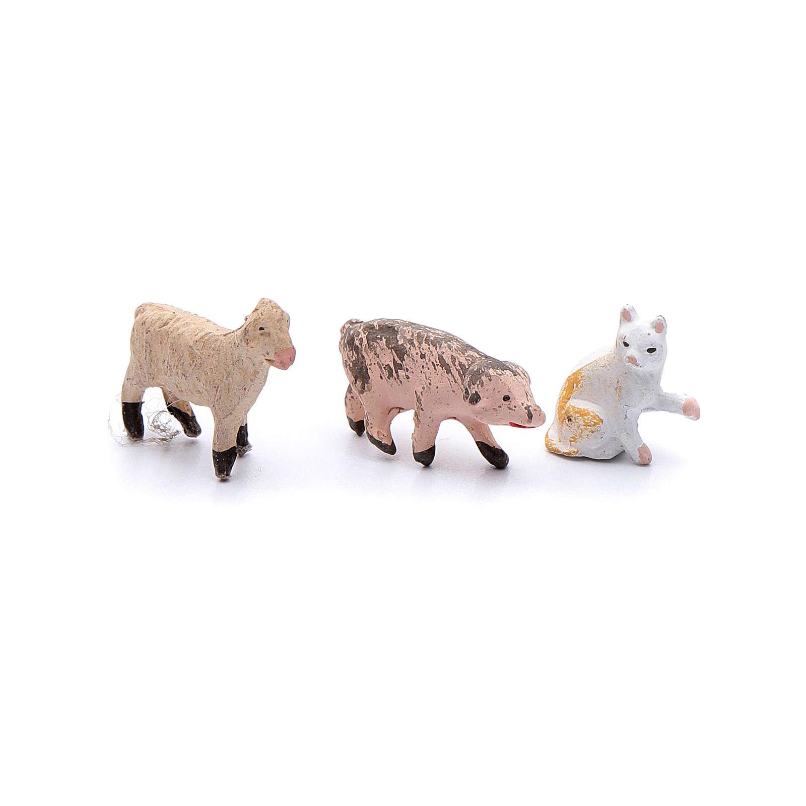 Kit animaletti 9 pezzi presepe fai da te 4 cm 4