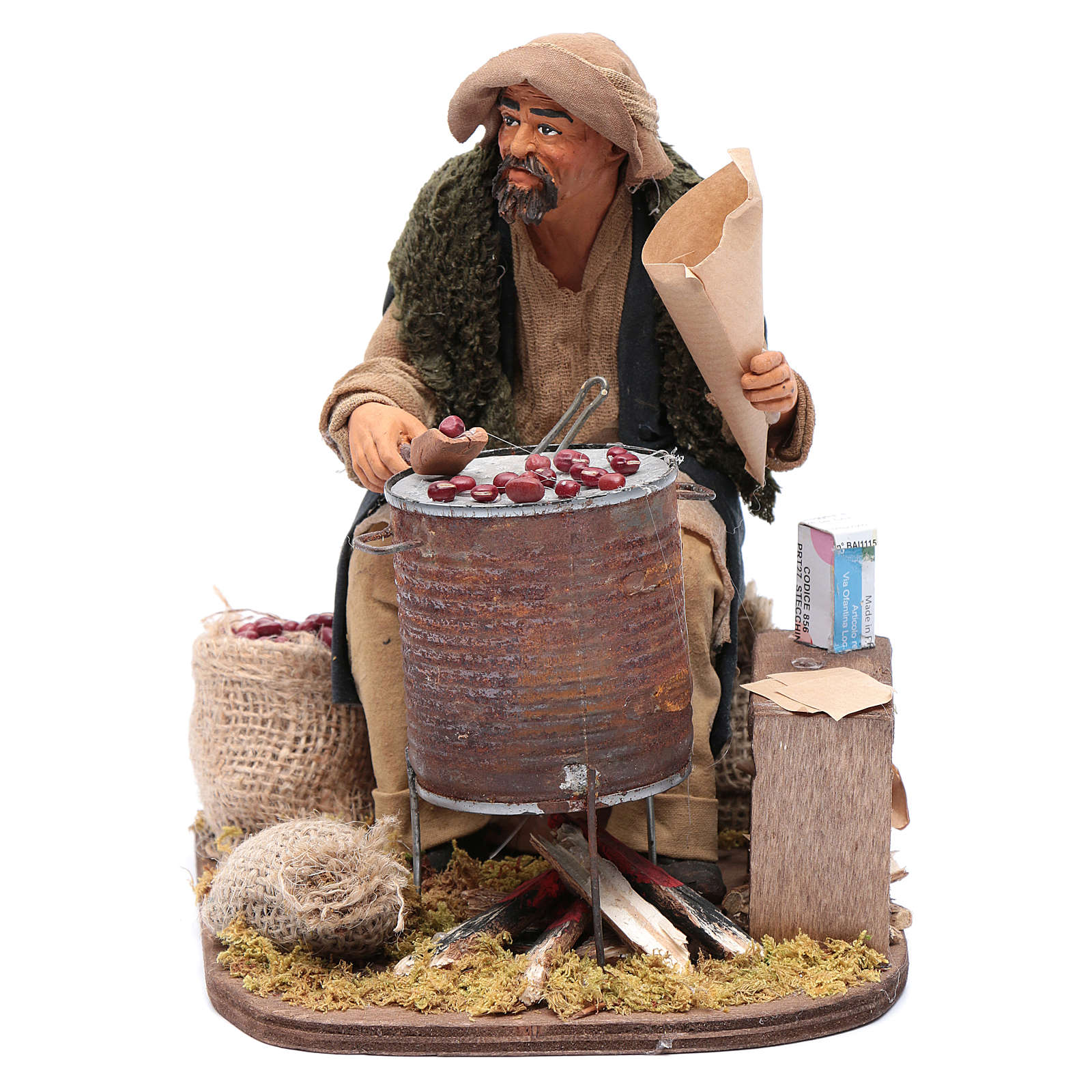 Vendedor de castañas 30 cm belén napolitano 4