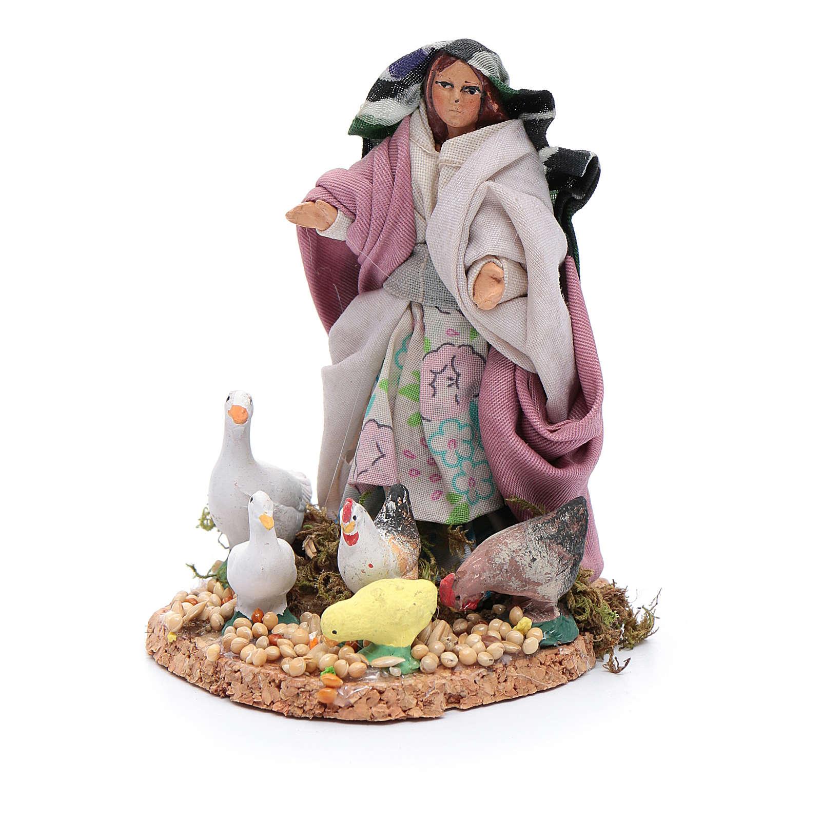 Donna con galline e papere statuina presepe napoletano 4