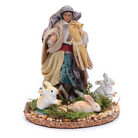 Neapolitan Nativity Scene: Statue if woman with rabbits 8 cm for  Neapolitan nativity scene