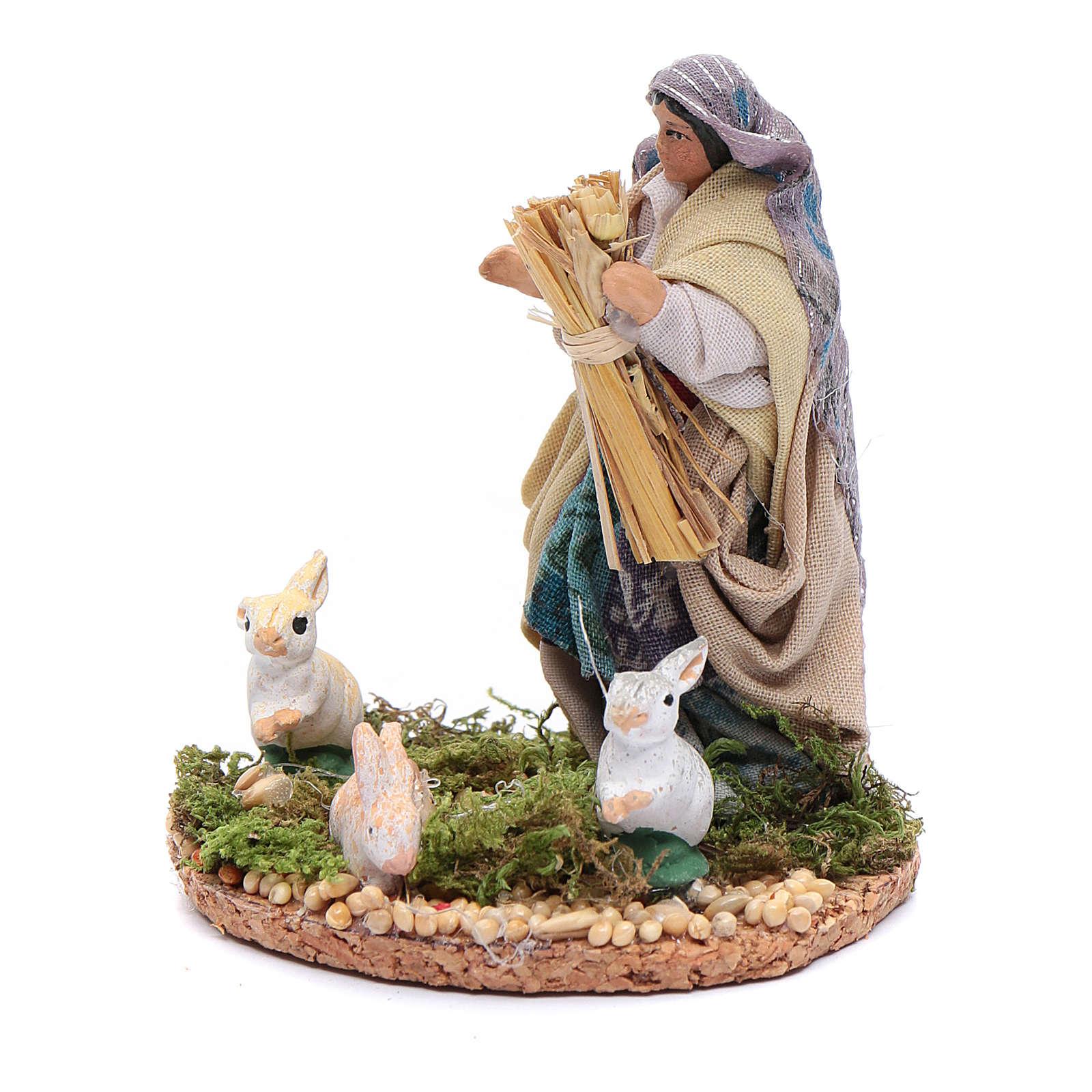 Mujer con conejos pesebre napolitano  estatuilla 8 cm 4