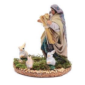 Statuina donna con conigli presepe napoletano 8 cm s2