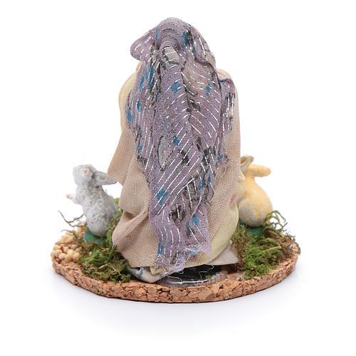 Statuina donna con conigli presepe napoletano 8 cm 3