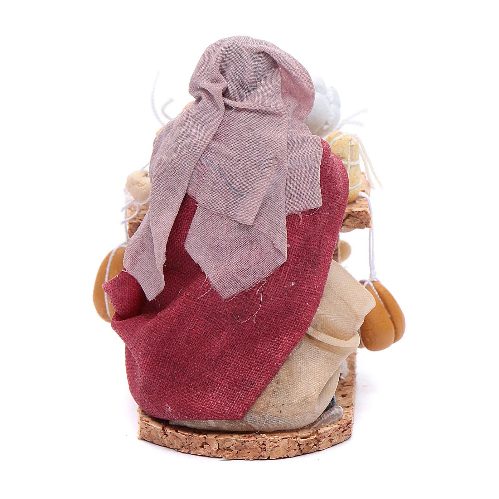 Donna con salumi e formaggi 8 cm presepe napoletano 4