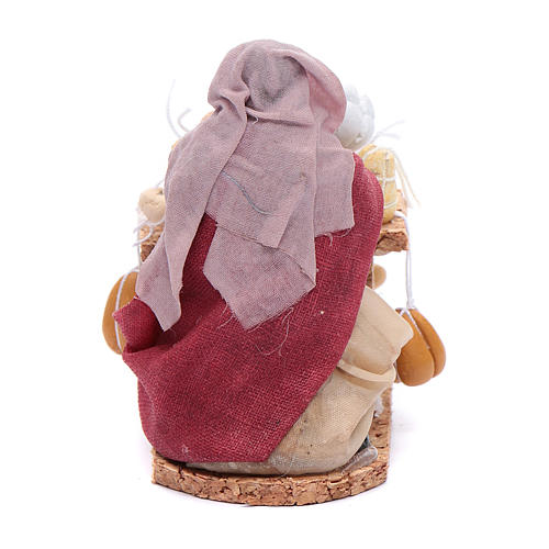 Donna con salumi e formaggi 8 cm presepe napoletano 3