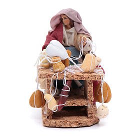 Neapolitan Nativity Scene: Woman with cured meats and cheeses 8 cm for Neapolitan nativity scene