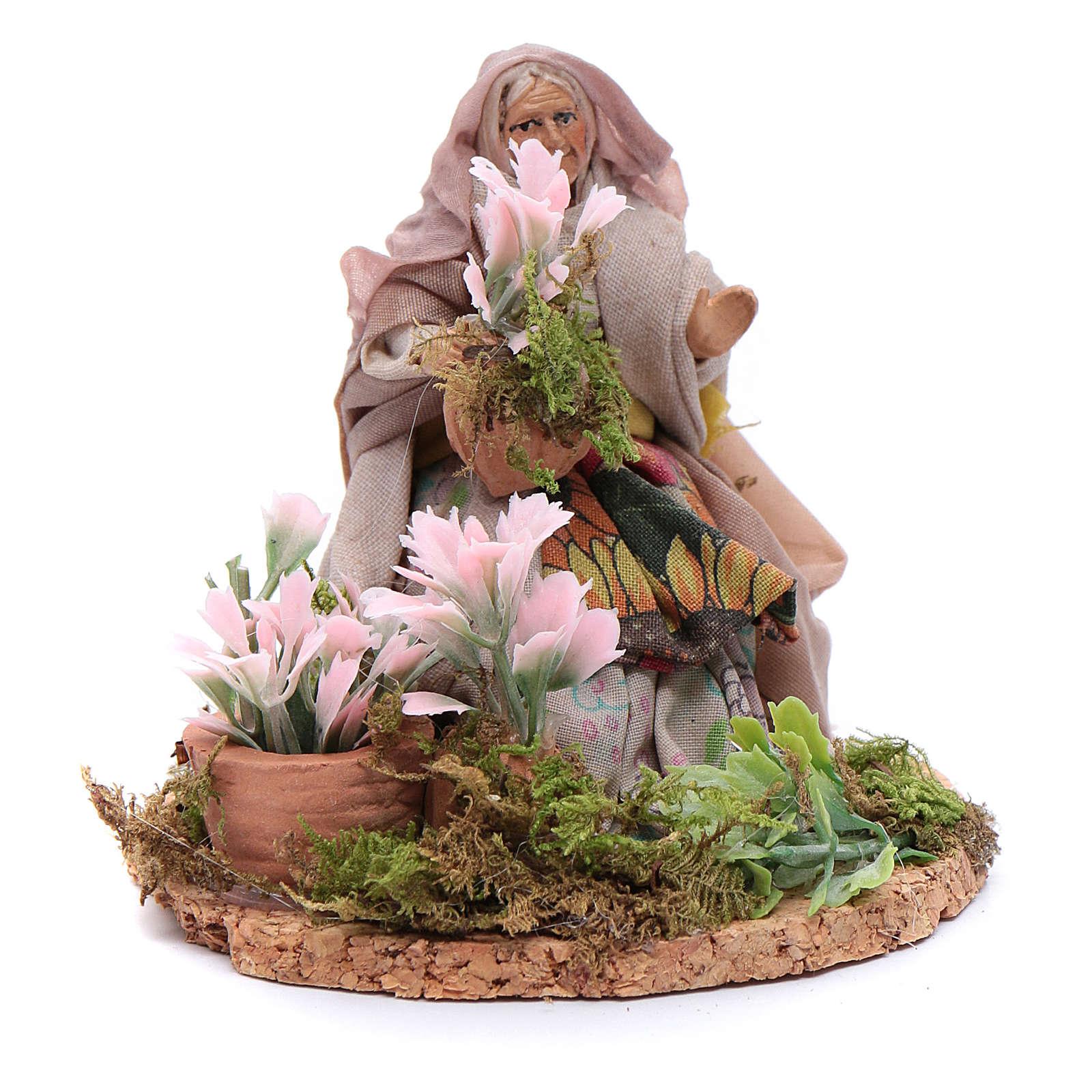 Fioraia donna anziana 8 cm presepe napoletano 4