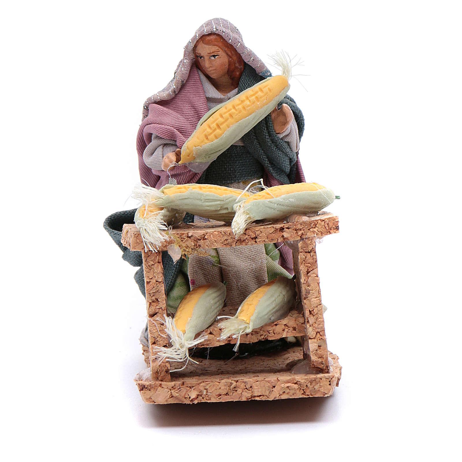 Donna con pannocchie statuina presepe napoletano 8 cm 4
