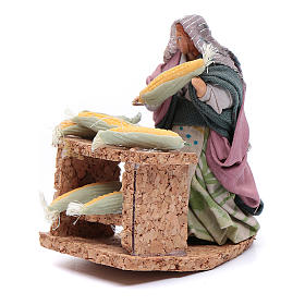 Donna con pannocchie statuina presepe napoletano 8 cm s2