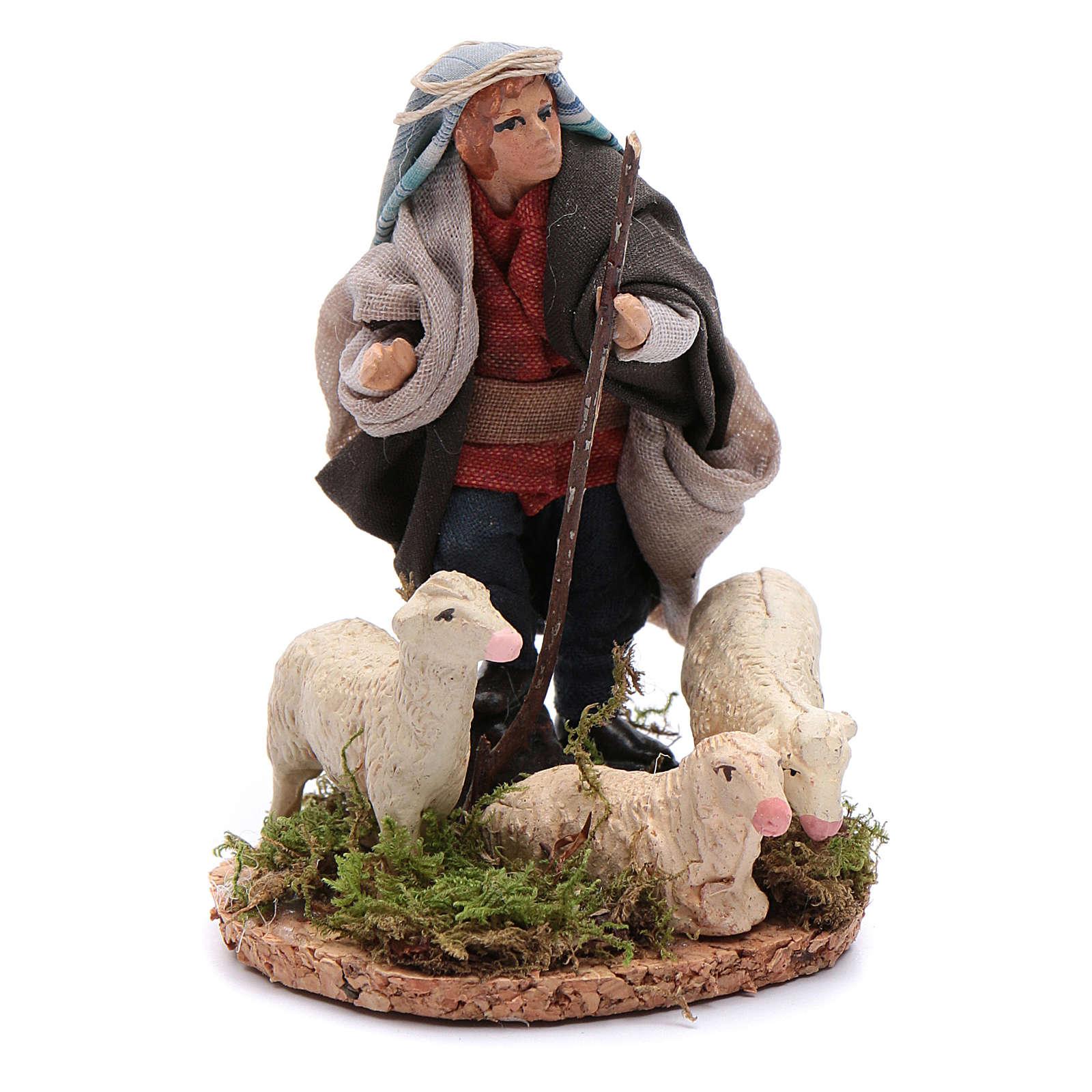 Neapolitan Nativity Scene shepherd with flock 8cm 4
