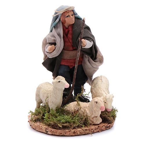 Neapolitan Nativity Scene shepherd with flock 8cm 1