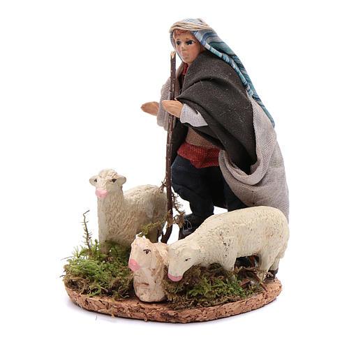Neapolitan Nativity Scene shepherd with flock 8cm 2