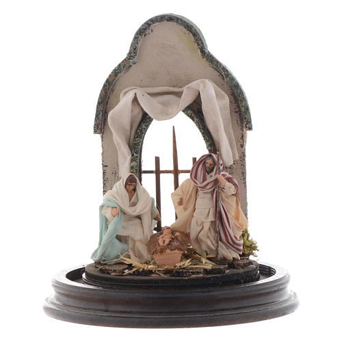 Escena Natividad 20x15 cm cúpula vidrio estilo árabe pesebre napolitano 2