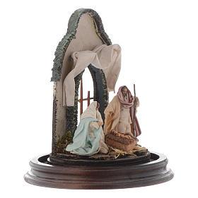 Scène Nativité style arabe cloche en verre 20x15 cm crèche napolitaine s4