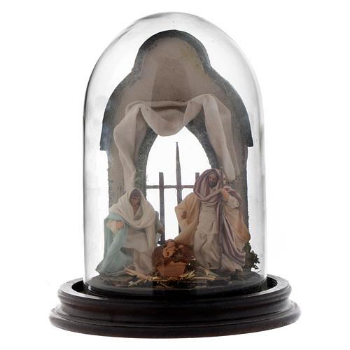 Scène Nativité style arabe cloche en verre 20x15 cm crèche napolitaine 1