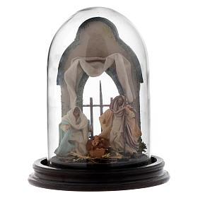Neapolitan Nativity Scene Holy Family arabian style in glass dome 20x15 cm s1