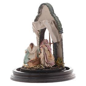 Neapolitan Nativity Scene Holy Family arabian style in glass dome 20x15 cm s3