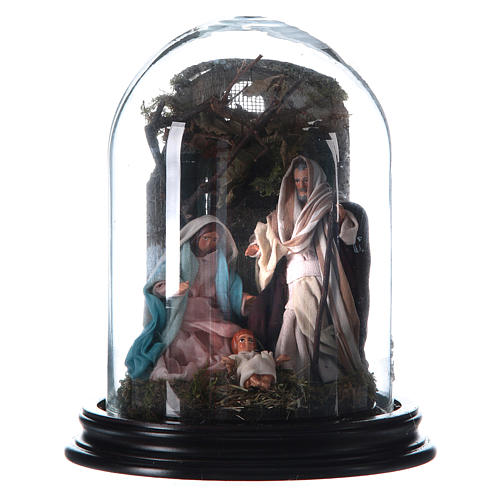 Neapolitan Nativity Scene Holy Family arabian style with setting in glass dome 18.5cm 1