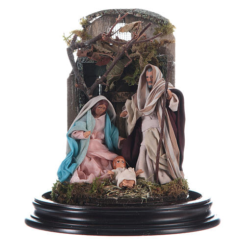 Neapolitan Nativity Scene Holy Family arabian style with setting in glass dome 18.5cm 2