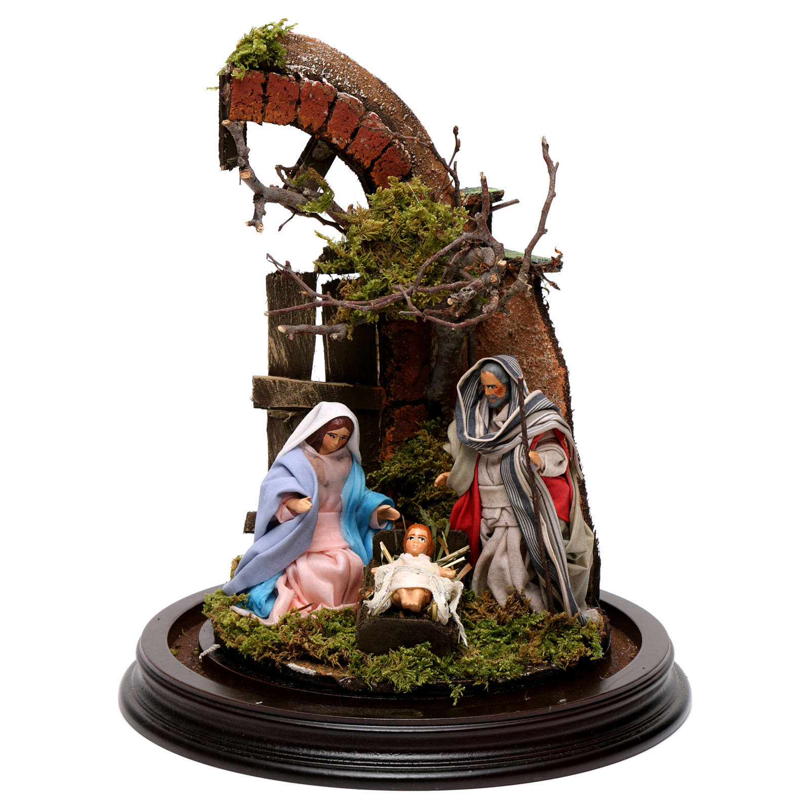Neapolitan Nativity Scene Holy Family with setting in glass dome 24.5cm 4