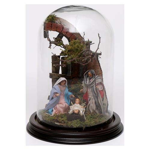 Neapolitan Nativity Scene Holy Family with setting in glass dome 24.5cm 1