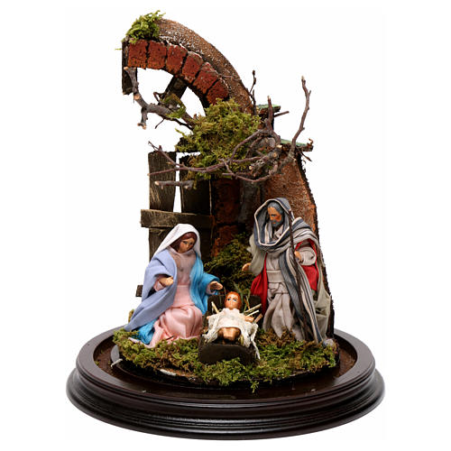 Neapolitan Nativity Scene Holy Family with setting in glass dome 24.5cm 2
