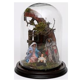 Escena Natividad 25x18 cm cúpula vidrio pesebre napolitano s1