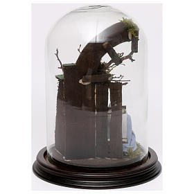 Escena Natividad 25x18 cm cúpula vidrio pesebre napolitano s3