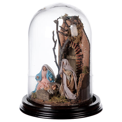 Cloche en verre avec scène nativité crèche napolitaine 3