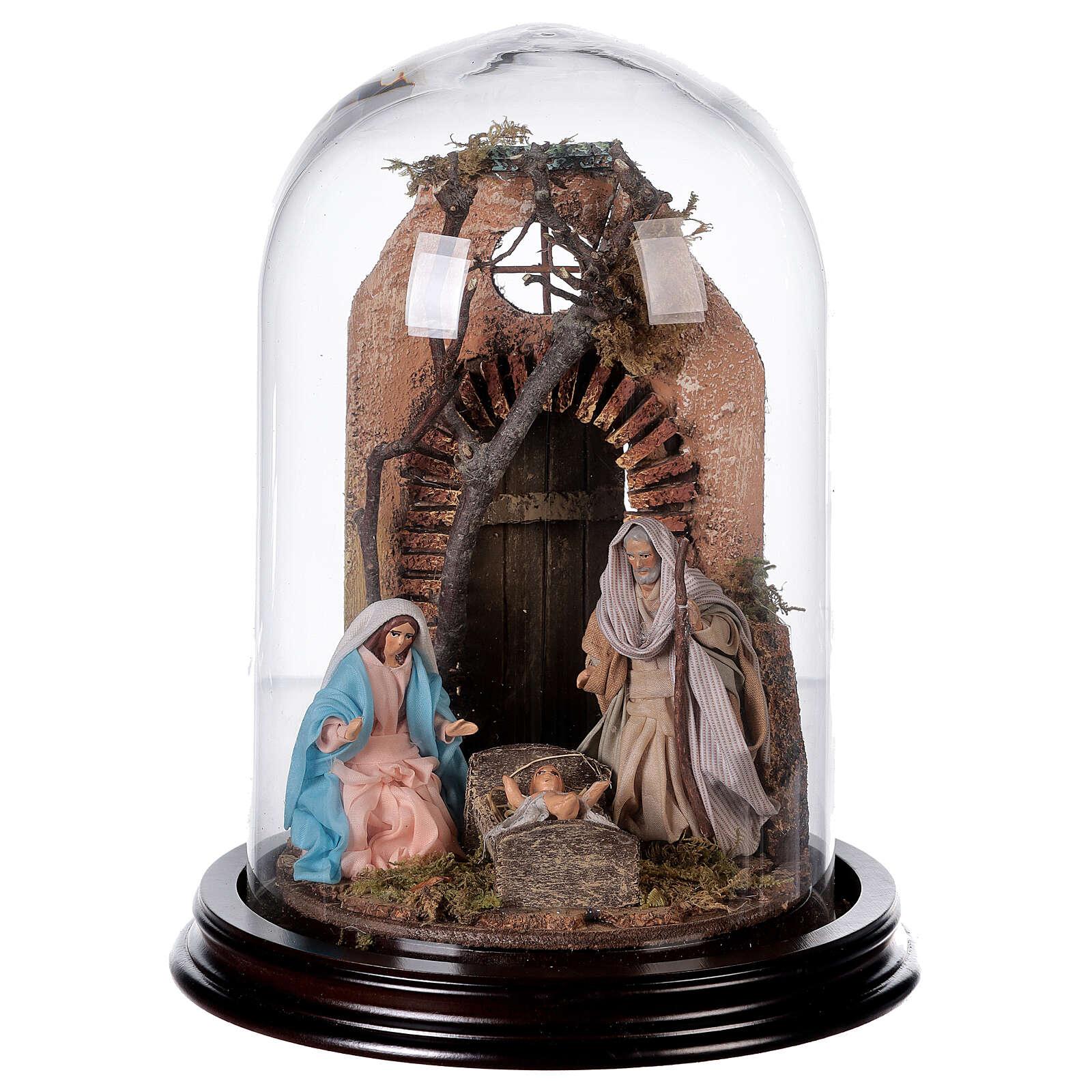 Campana di vetro con scena natività presepe napoletano 4