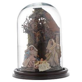 Campana di vetro con scena natività presepe napoletano s1