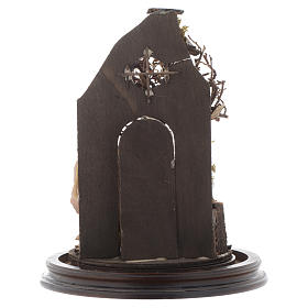 Campana di vetro con scena natività presepe napoletano s5