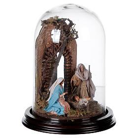 Campana di vetro con scena natività presepe napoletano s4
