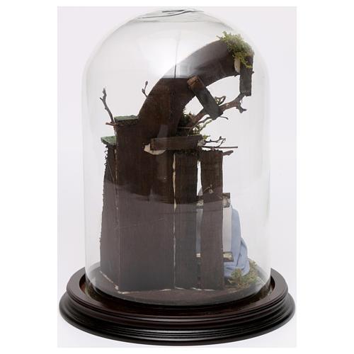 Campana di vetro con scena natività presepe napoletano 3