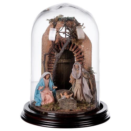 Campana di vetro con scena natività presepe napoletano 1