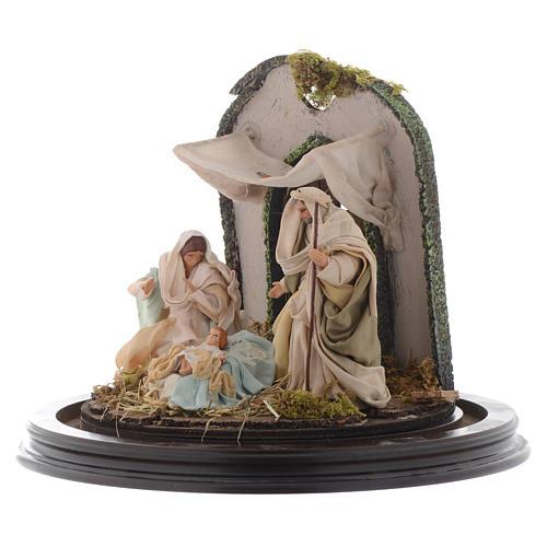 Escena Natividad cúpula vidrio pesebre napolitano 3