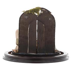 Scène nativité avec cloche sur base bois crèche napolitaine s5