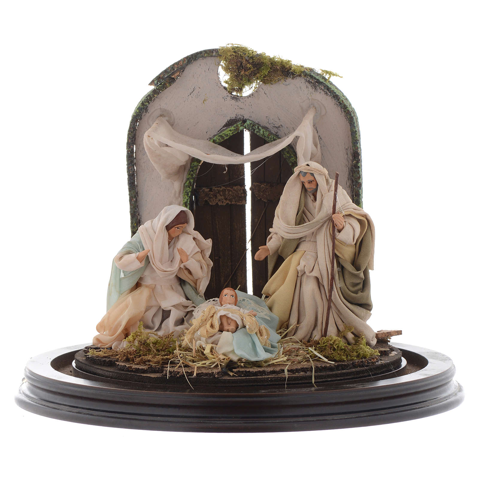 Nativity scene with glass domed roof on a wooden base for Neapolitan nativity scene 4