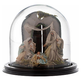 Nativity scene with glass domed roof on a wooden base for Neapolitan nativity scene s1