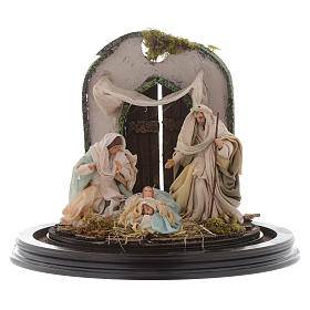 Nativity scene with glass domed roof on a wooden base for Neapolitan nativity scene s2