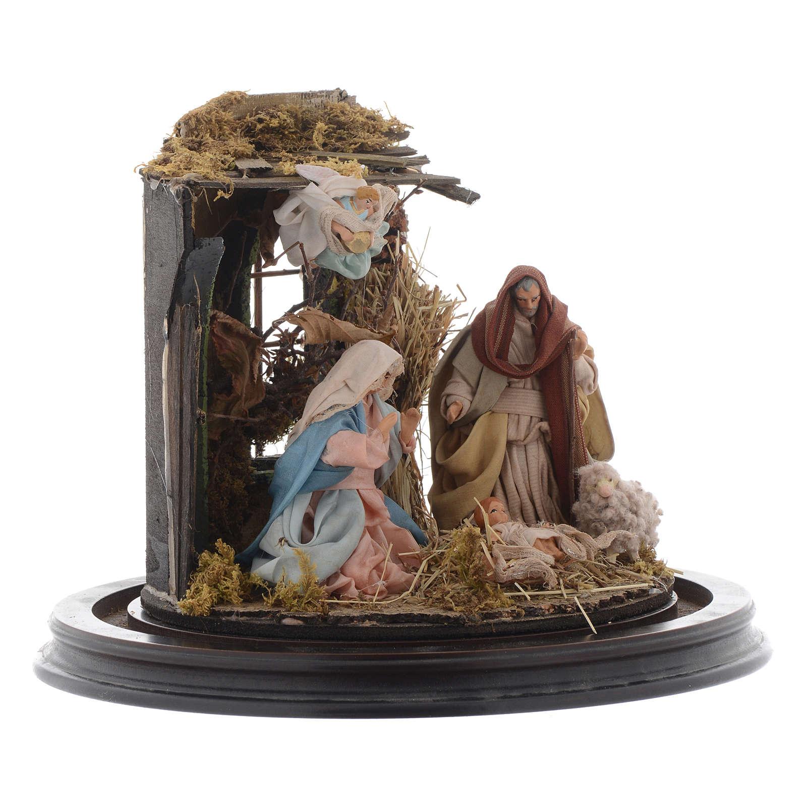 Natività con parete di stalla e angelo - cupola di vetro presepe Napoli 4