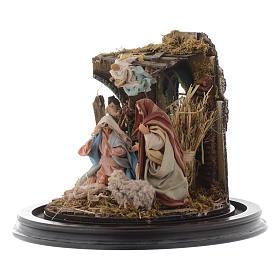 Natività con parete di stalla e angelo - cupola di vetro presepe Napoli s3