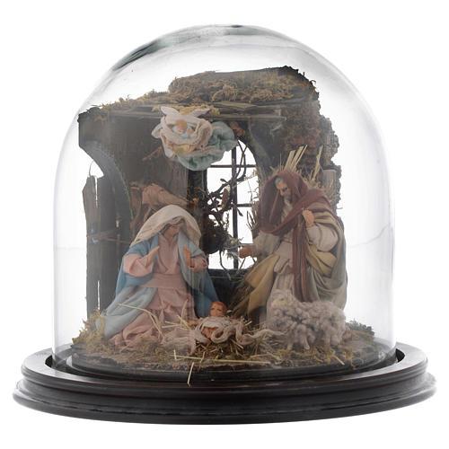 Natività con parete di stalla e angelo - cupola di vetro presepe Napoli 1