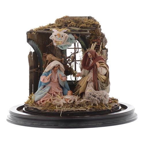 Natività con parete di stalla e angelo - cupola di vetro presepe Napoli 2