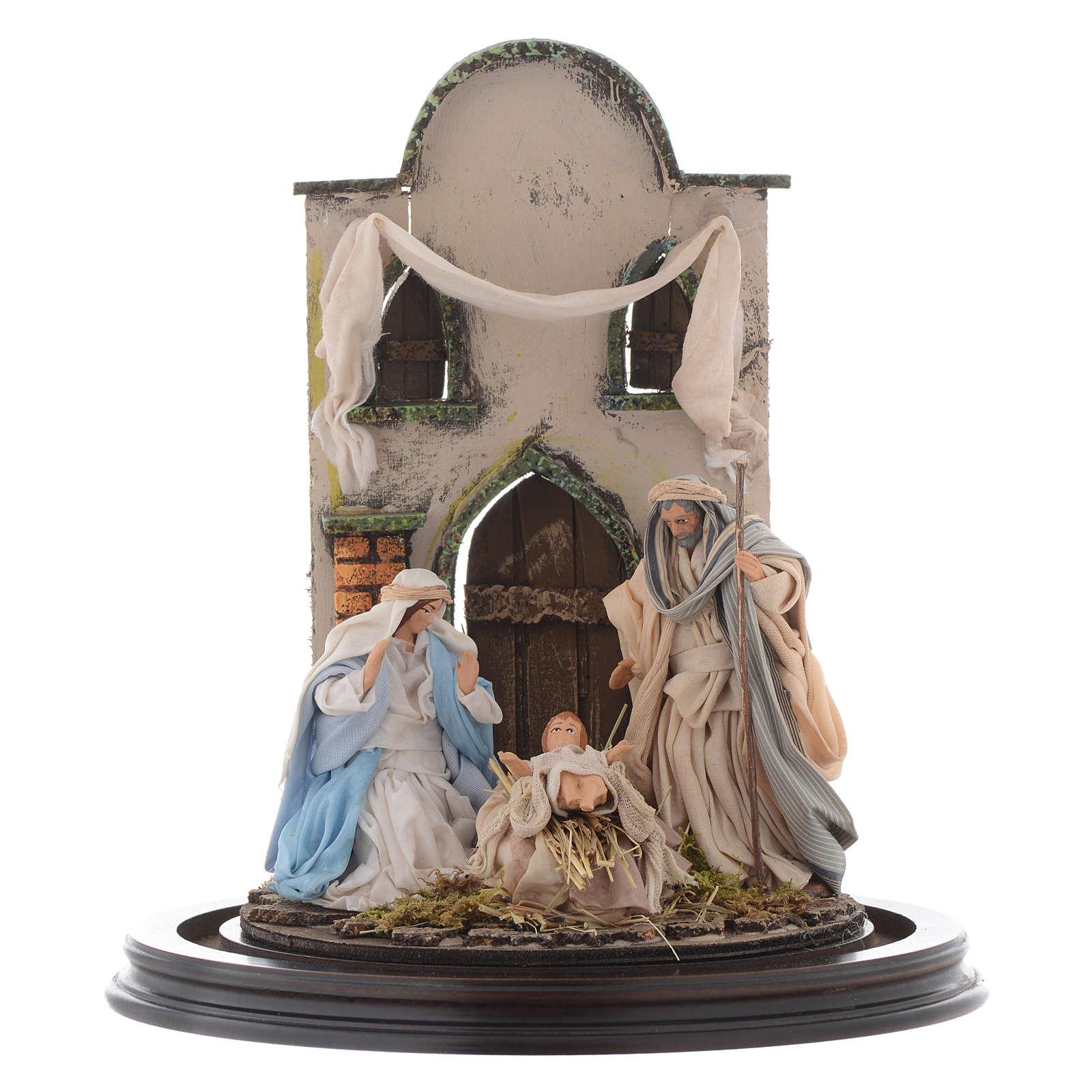 Escena Natividad 30x25 cm cúpula vidrio estilo árabe  pesebre napolitano 4