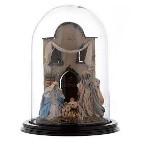 Escena Natividad 30x25 cm cúpula vidrio estilo árabe  pesebre napolitano s1