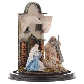 Escena Natividad 30x25 cm cúpula vidrio estilo árabe  pesebre napolitano s4