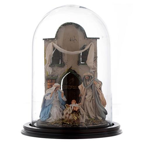 Escena Natividad 30x25 cm cúpula vidrio estilo árabe  pesebre napolitano 1