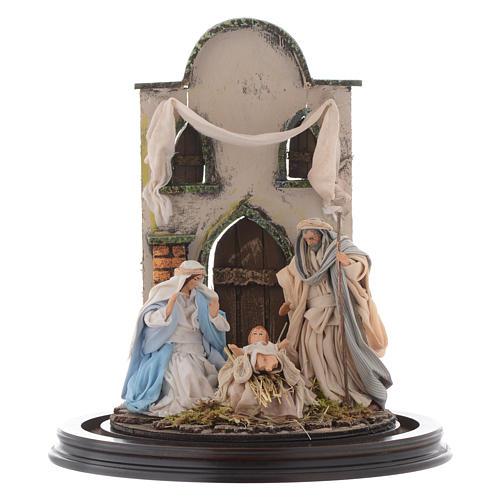 Escena Natividad 30x25 cm cúpula vidrio estilo árabe  pesebre napolitano 2