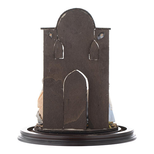 Escena Natividad 30x25 cm cúpula vidrio estilo árabe  pesebre napolitano 5